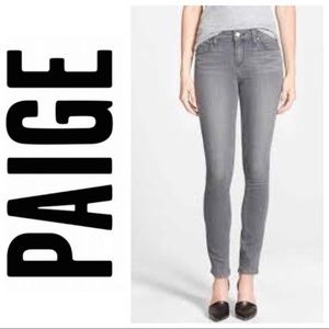 Paige Gray Blue Heights Leg Stretch Skinny Jeans